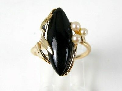 Vintage 14k Yellow Gold Natural Black Onyx & Pearl Ladies Ring 3.4g