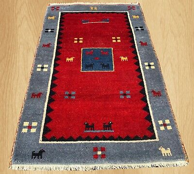 Authentic Hand knotted Pictorial Indo Gabbeh Wool Area Rug 5 x 3 FT (5117)