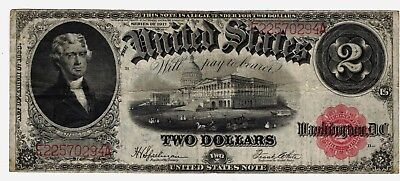 FR #60 Series 1917 $2 Two Dollar Red Seal US Note Certificate Grading FINE