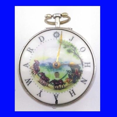Georgian Stunning Silver Fusee Verge Date London Polychrome  Pocket Watch 1742
