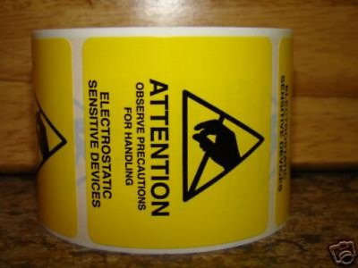 1 Roll of 500 Labels 2x2 ESD ATTENTION Warning Labels Stickers for Electrostatic