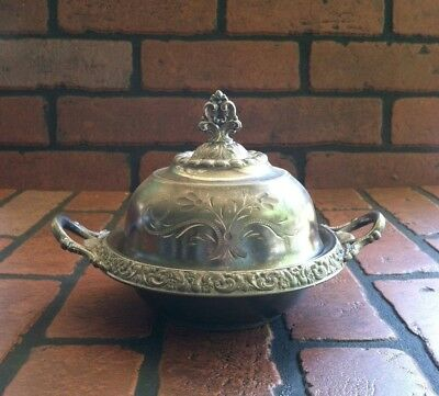 Antique Richfield Quadruple Silver Plate Domed Butter Dish with Lid