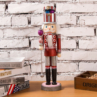 38cm Height Wooden Glitter Sceptre Nutcracker Home Decoration Xmas Toy Red