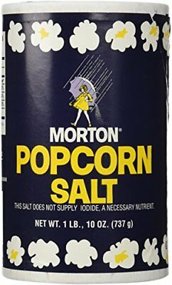 1Lb 10oz Morton Popcorn Salt For Green Salad, Corn on the Cob, French Fries,