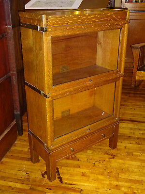 HTF! Oak Globe Wernicke 2 High Stack 3/4 Width Barrister Bookcase Arts & Crafts