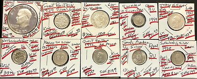 From An Old Hoarer 10 Better Different World Silver Coins-&-Discounted Near Melt