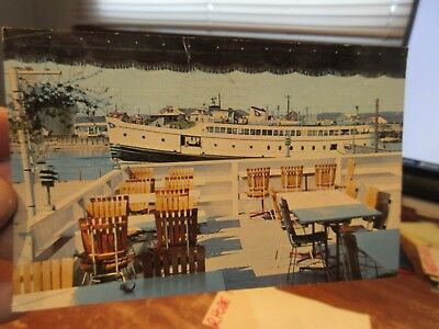 Vintage Old Postcard RHODE ISLAND Galilee George's Restaurant Channel Lounge Bar