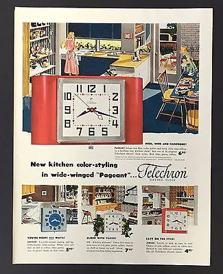 1952 Telechron Electric Clock Advertisement MCM Kitchen Vintage Print AD