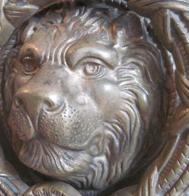 Vtg Heavy Brass Lion Head Door Knocker Very Large Ornate Sculptural from Mexico