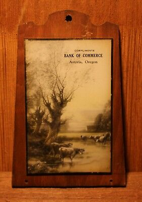 Bank of Commerce - ASTORIA , OREGON - Advertising Glass Calendar Top - Early