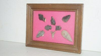 8 Native American Stone Artifact Arrowheads In Enclosed Glass Case