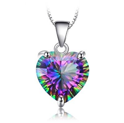 Heart Crystal Pendant 925 Sterling Silver Chain Necklace Womens Girls Jewellery