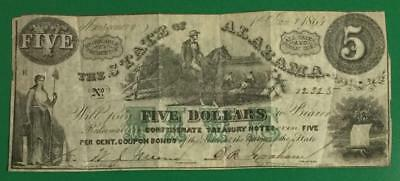 1864 $5 US STate of Alabama LARGE SIZE Currency! Old US Paper Money Currency