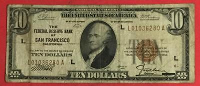 1929 $10 Brown Seal National Currency X280 San Francisco! VG! Currency!