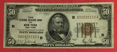 1929 $50 Brown Seal National Currency CHoice VF X150 New YOrk! Old US Currency