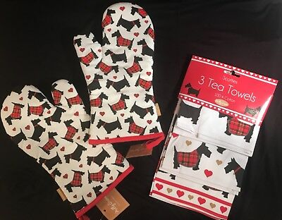 2 Scottie Dog/Scottish Terrier Oven Mitts and 1 Set of Three Tea Towels