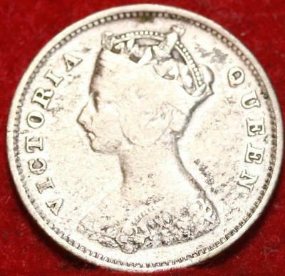 1895 Hong Kong 10 Cents Silver Foreign Coin