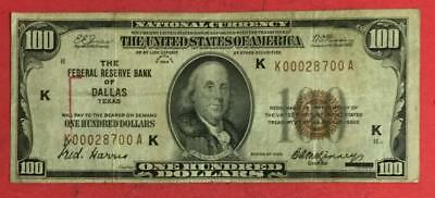 """1929 $100 Brown Seal National Currency """"DALLAS"""" SCARCE! KEY TO SERIES!"""