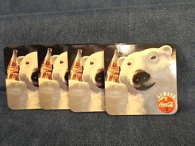 Coca-Cola Polar Bear Coasters - 1994 - Never Used - Set Of 4 - Cork Backs