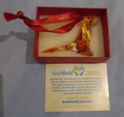 Sea World Collectible 2015 Holiday Seal Blow Glass Ornament Exclusive
