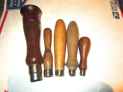 Vintage Lot Of 5 Good Quality Wooden Tool Handles Good Condition 2