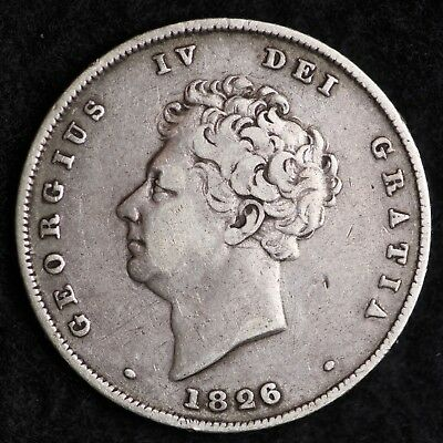 1826 Great Britain Silver Half Crown Sixpence Mid Grade Free Shipping A25