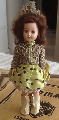"""Vintage 7"""" Marcie Doll 1950's Sleepy Eyes Jointed arms and Head #844 Ice Skater"""