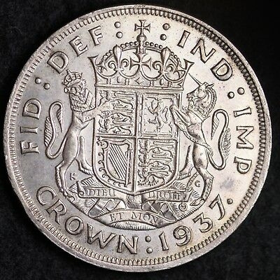1937 Great Britain Silver One Crown High Grade Free Shipping A29