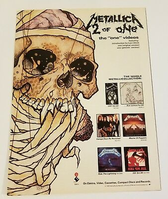 Metallica-1989 Full Page Magazine Ad-2 of One: The One Videos