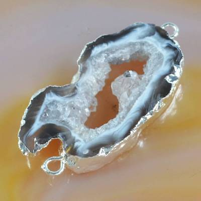 Natural Agate Druzy Geode Connector Silver Plated B065778