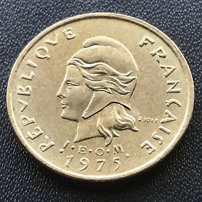 "2 Francs 1975 New Hebrides Neue Hebriden - KM#5.2 (""I.E.O.M."" below head)"