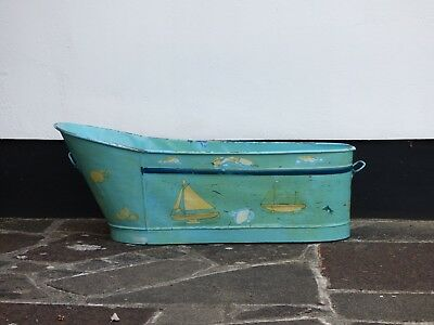 Vintage painted galvanised metal French trough or bath
