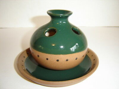 Unique Hand Painted Pottery Type Green Vase With Plate Made In Taiwan