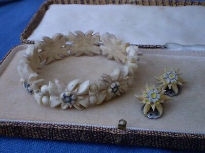 Collection Of Vintage Hand Carved Jewelry  - In The Design Of A Edelweiss