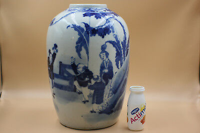 Large Antique Chinese Porcelain Blue and White Figures Picture Jar Vase - Marks