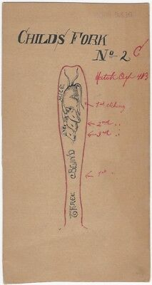 Early 20th C. Pen & Ink Pattern for Three Blind Mice Children's Fork