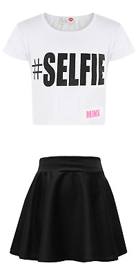 clicktostyle clickostyle Kids Girls White Selfie Crop Top With Black Skater Skir