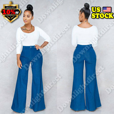 Women Sexy Skinny Flare Jeans High Waisted Stretch Denim Long Pants US Size 6-14