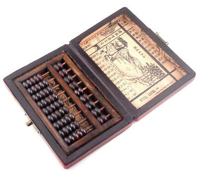Chinese HAND dragon phoenix leather wood box with a abacus inside