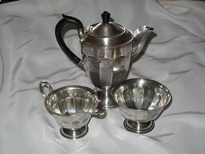 Vintage Silver Plated Coffee Set Fluted Sides Sheffield