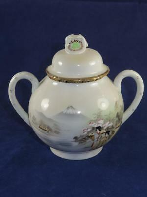 Fine Japanese Porcelain Sugar Bowl With Lid Oriental Countryside Scene
