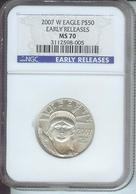 2007-W BURNISHED $50 PLATINUM STATUE LIBERTY 1/2 Oz. NGC MS70 EARLY RELEASES ER