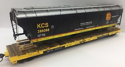 Trailer Train 60 Flat With Custom Kcs Grain Car Wreck 5161 Mdc Mow Ho Kansas