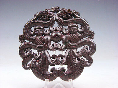 Old Nephrite Jade Stone 2 Sides Carved LARGE Pendant 2 Dragons 2 Figs #11171811