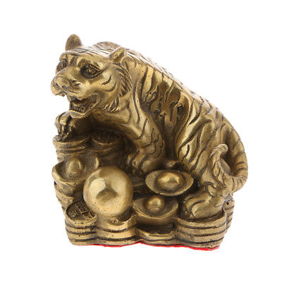 2 Lucky Money Brass Chinese Zodiac Animal Sculpture FengShui Tiger Ox Statue