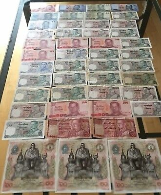 Thailand huge lot with 46 Banknotes 10 - 100 Baht 1980's-2016_F- to UNC