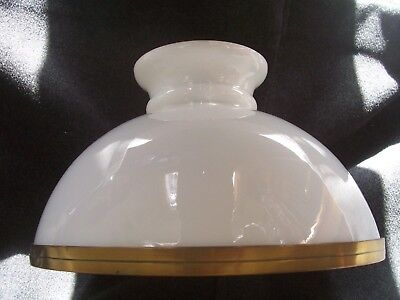 "11"" Domed Opaline Glass Oil Lamp Shade and Carrier"