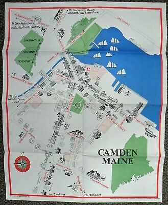 1981 Camden Maine Chamber Of Commerce Illustrated Map/Businesses By Anne Kilham