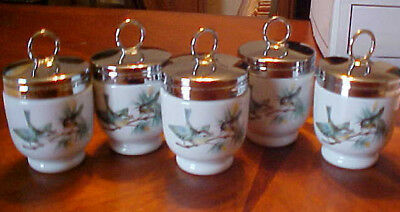 5 Royal Worcester Egg Coddlers With Screw On Lid Wren & Finches Birds