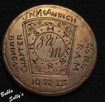 1822 Coronet Head Large Cent Made into a Masonic Token <> Wyoming Chapter